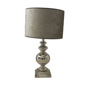 Silver Circle Lamp Base with White Oval Shade – Grey Goose