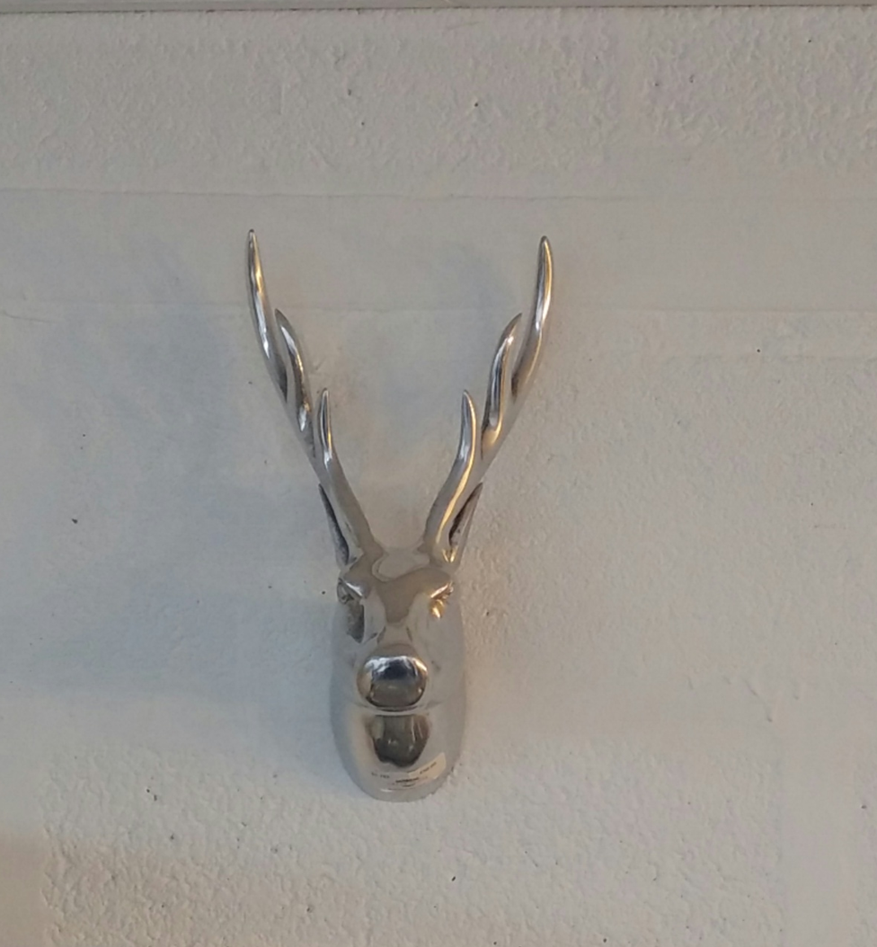 Small Silver Stag Head Wall Art Grey Goose